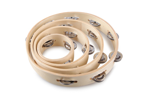 Wholesale  Wood Tambourine, Headless, Double Row Jingles