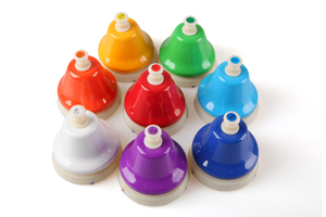 8 different tones musical instrument percussion bells set hand bells