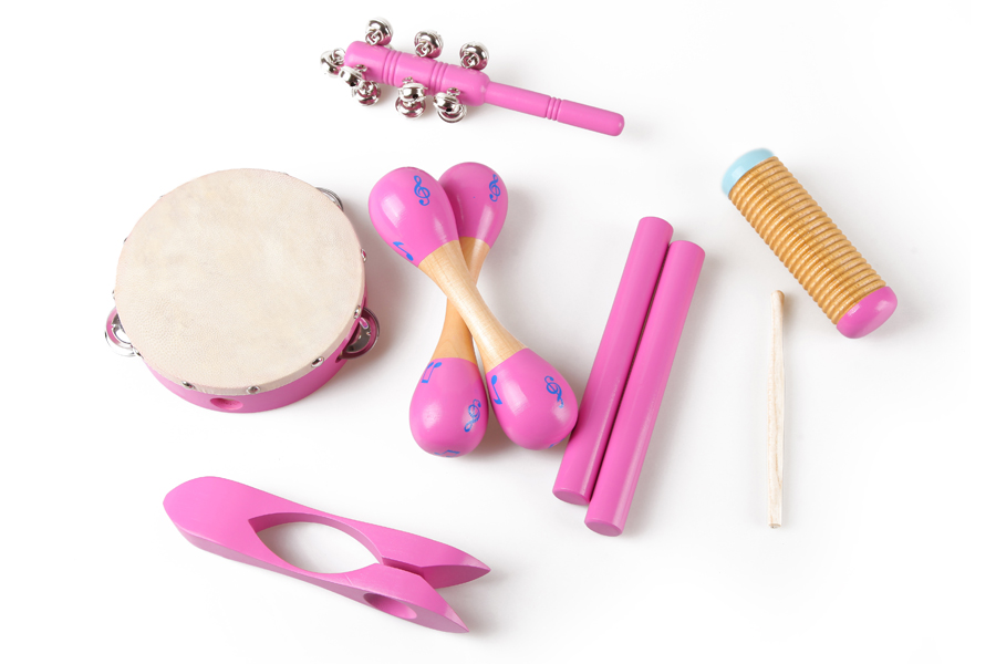 Funny musical instrument toy maracas set, wooden toy drum set